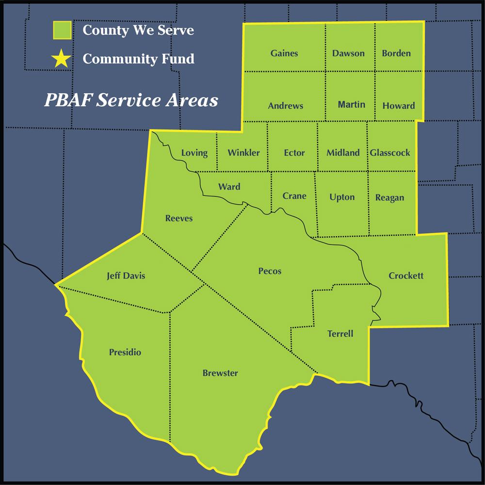 PBAF Service Area Map